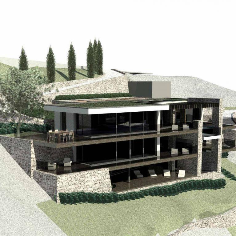 Visione dall'alto della villa atre piani firmata da Numax